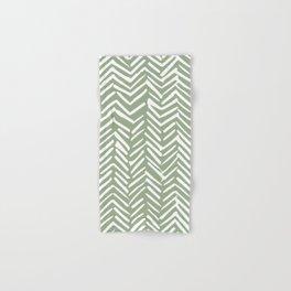 Boho Herringbone Pattern, Sage Green and White Hand & Bath Towel