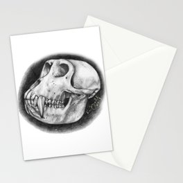Baboon Skull Drawing Stationery Cards
