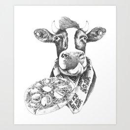 Picky Moo Art Print