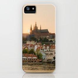 Prague Castle and Vltava river at sunset iPhone Case
