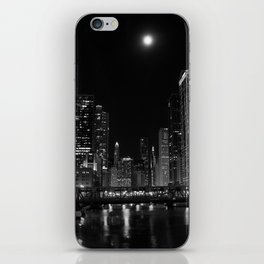 Downtown Chicago Night, Fine Art Black & White Photography iPhone Skin
