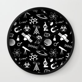 Science on Black Wall Clock