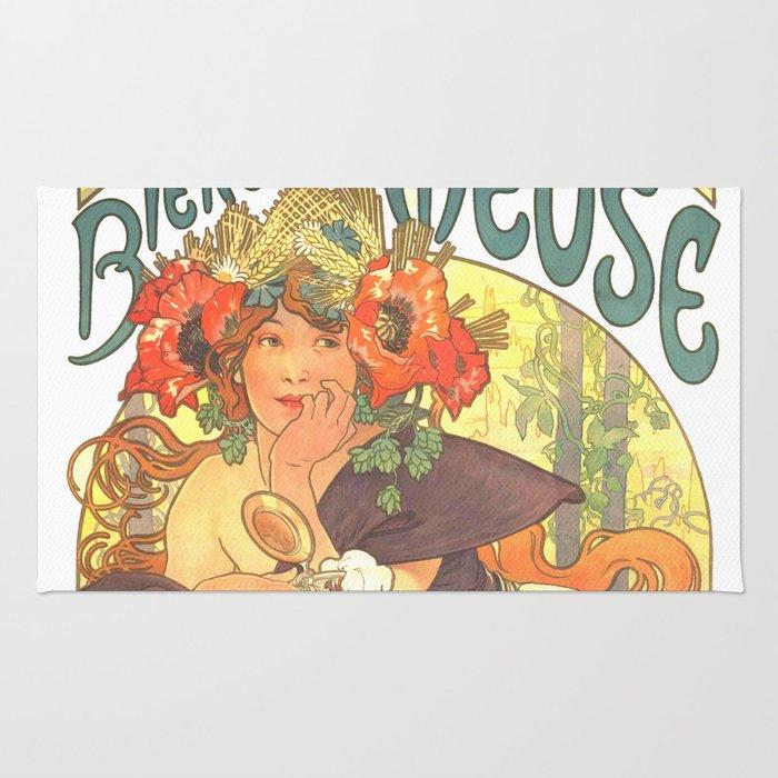 """Alphonse Mucha """"Bières de la Meuse"""" Rug"""