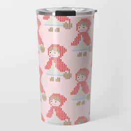 Red Riding Hood Cross Stitch Pattern on pink Travel Mug