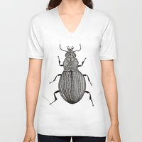 beetle V-neck T-shirts featuring Beetle  by Lucia Cordero