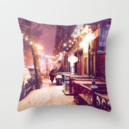 Winter Night with Snow in the East Village New York City Throw Pillow