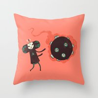 katamari Throw Pillows featuring Katamari of the Dead by Hector Mansilla