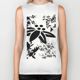 Damask Black and White Toile Floral Graphic Biker Tank