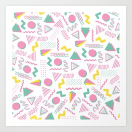 Abstract retro pink teal yellow geometrical 80's pattern Art Print