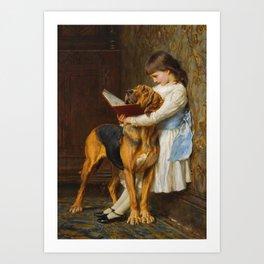Briton Riviere  -  Reading Lesson  Compulsory Education Art Print