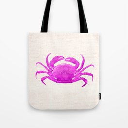 Nautical Pink Crab Linen Tote Bag