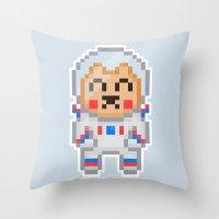 8bit Throw Pillows featuring 8Bit Astrobear by Bear Picnic
