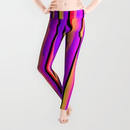 Vertical vivid curved stripes with imitation of the bark of a pink tree trunk. Leggings