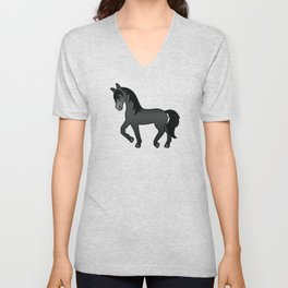 Black Trotting Horse Cute Cartoon Illustration Unisex V-Neck