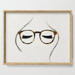 Tortoiseshell Glasses Brunette Serving Tray