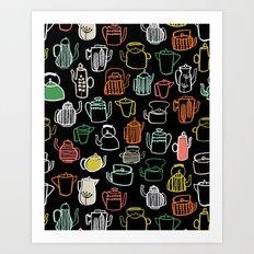Kitchen Teapots - Multi by Andrea Lauren Art Print