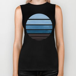 Blue Green Mid Century Modern Minimalist Circle Round Photo Staggered Sunset Geometric Stripe Design Biker Tank