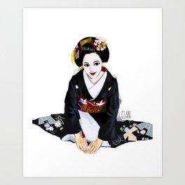 Bowing Geisha Art Print