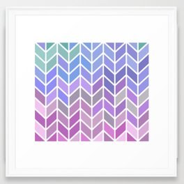 blue & purple chevron Framed Art Print