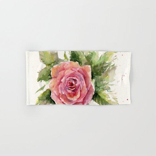 Watercolor Rose Flower Hand & Bath Towel