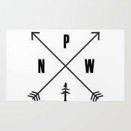 PNW Pacific Northwest Compass - Black on White Minimal Rug
