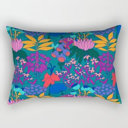 Psychedelic Jungle Garden in Pond Teal Rectangular Pillow