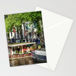 Amsterdam Houseboat on Canal Stationery Cards