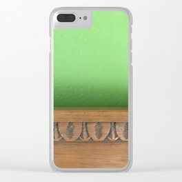 Green Wall, Wood Trim Clear iPhone Case
