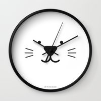 toddler Wall Clocks featuring Minimalist Black and White Animal Poster | Cat / Rabbit / Mouse | Kids Decor / Toddler Room by PetekDesign