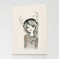 antler Stationery Cards featuring Antler Girl by Kelli Murray
