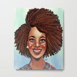 Lena Loves Curls Metal Print