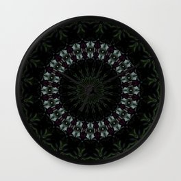 Rose And Jade Geometric  Dark Fantasy Mandala Pattern Wall Clock