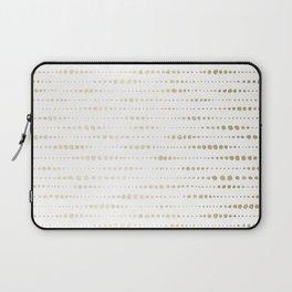 Modern Gold Polka Dot Stripes Laptop Sleeve