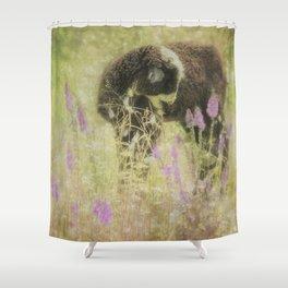 Lamb at Springtime painterly Shower Curtain