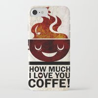 coffe iPhone & iPod Cases featuring Coffe, love coffe by Nayade Limnatide