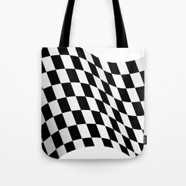 Wavy checkered racing flag, black and white Tote Bag