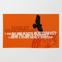 hamlet Area & Throw Rugs featuring Hamlet-  North by Northwest - Madness - Shakespeare Quote Art by Immortal Longings
