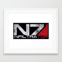 n7 Framed Art Prints featuring N7 Infiltrator by Draygin82