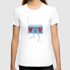 boombox with hearts White Womens Fitted Tee MEDIUM
