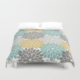 Pastel Petals in Light Amber, Light Opal, Pale and Dark Grey Duvet Cover