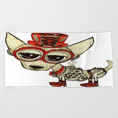 Steampunk Chihuahua white Beach Towel