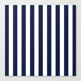 Maritime pattern- darkblue stripes on clear white - vertical Canvas Print