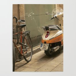 Bikes and a Scooter on Old Road Poster