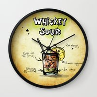 whiskey Wall Clocks featuring Whiskey Sour by jamfoto