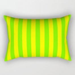 Super Bright Neon Yellow and Green Vertical Beach Hut Stripes Rectangular Pillow