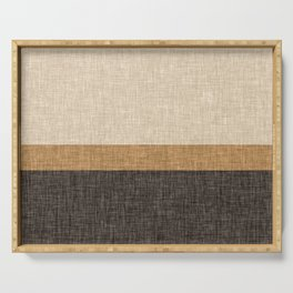 Brown and Caramel Simple Stripe Abstract Serving Tray