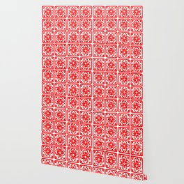 Classic Spicy-Red Chile Tile Pattern Wallpaper