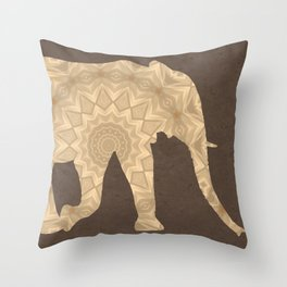 Bohemian Elephant Mandala A395 Throw Pillow