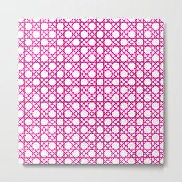 Hot Pink Basketweave Pattern Metal Print