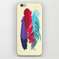 indie iPhone & iPod Skins featuring Indie Feathers  by Minette Wasserman